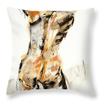 Throw Pillow featuring the painting 04936 Swinger by AnneKarin Glass