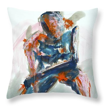 04954 Athlete Throw Pillow by AnneKarin Glass