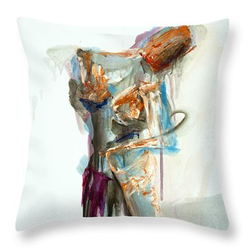 04957 Second Thoughts Throw Pillow by AnneKarin Glass