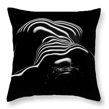 0686-ar Head Down Bottom Up Zebra Striped Female Figure Throw Pillow