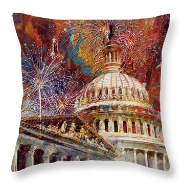 070 United States Capitol Building - Us Independence Day Celebration Fireworks Throw Pillow