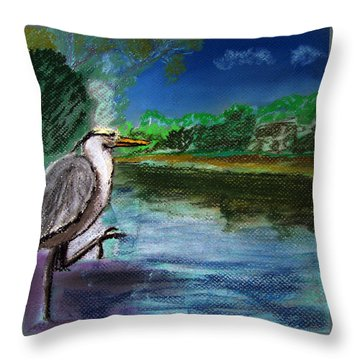 071115 Blue Heron Pastel Sketch Throw Pillow by Garland Oldham