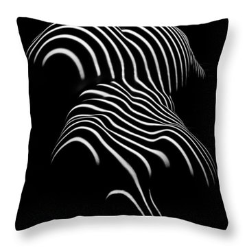0721-ar Black And White Fine Art Nude Abstract Big Woman Bbw Throw Pillow
