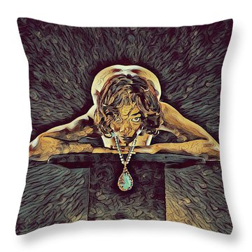 0756s-zac Nude Woman With Amulet On Tall Pedestal  Throw Pillow