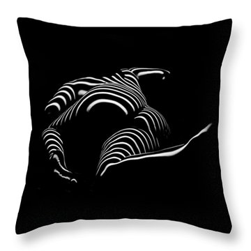 0758-ar Rear View Bbw Zebra Woman Large Full Figured Powerful Female Black And White Abstract Maher Throw Pillow