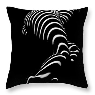 0774-ar Zebra Striped Figure Of A Large Woman Fine Art Photograph By Chris Maher Throw Pillow