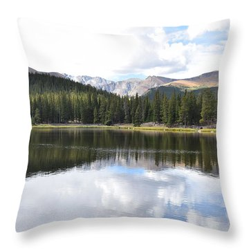 Throw Pillow featuring the photograph Echo Lake Reflection Mnt Evans Co by Margarethe Binkley