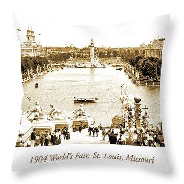 1904 World's Fair, Grand Basin View From Festival Hall Throw Pillow
