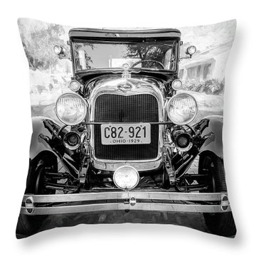 Throw Pillow featuring the photograph 1929 Ford Model A Tudor Police Sedan Bw by Rich Franco