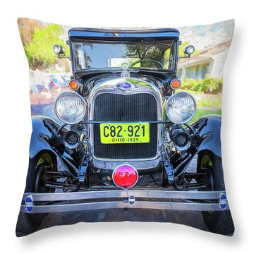 Throw Pillow featuring the photograph 1929 Ford Model A Tudor Police Sedan  by Rich Franco