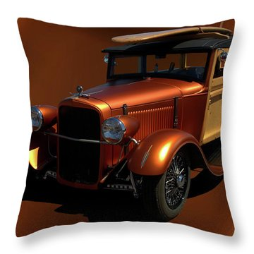 1929 Ford Model A Woody Throw Pillow
