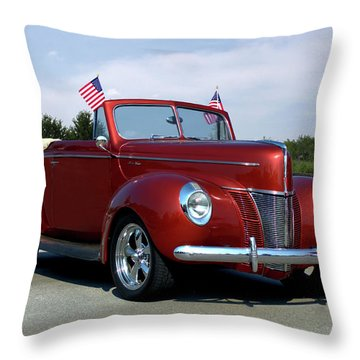 1940 Ford Convertible Throw Pillow