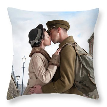 1940s Lovers Throw Pillow by Lee Avison