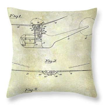 1947 Helicopter Patent Throw Pillow by Jon Neidert