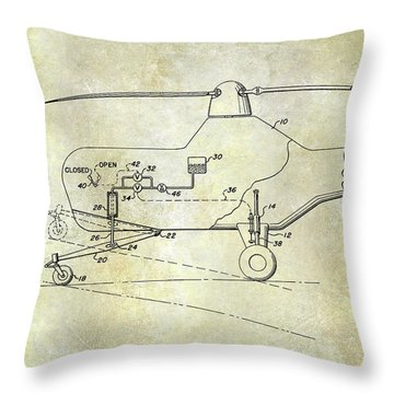 1953 Helicopter Patent Throw Pillow