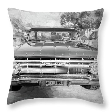 1961 Chevrolet Impala Ss Bw Throw Pillow by Rich Franco