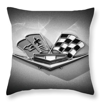 Throw Pillow featuring the photograph 1964 Chevrolet Corvette Sting Ray Gm Styling Coupe Side Emblem -0153c by Jill Reger