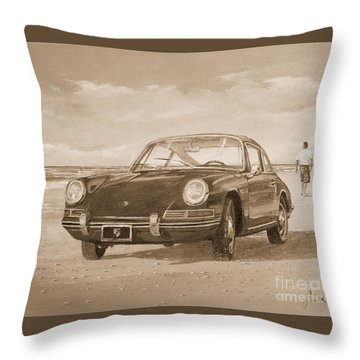 1967 Porsche 912 In Sepia Throw Pillow