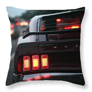Throw Pillow featuring the photograph 1969 Ford Mustang Mach 1 by Gordon Dean II