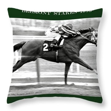 1973 Belmont Stakes, Secretariat, Back Stretch, 1 12 Miles, 2 Min 24 Sec Throw Pillow