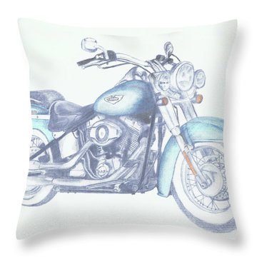 Throw Pillow featuring the drawing 2015 Softail by Terry Frederick
