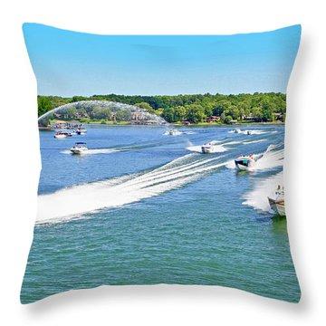 2017 Poker Run, Smith Mountain Lake, Virginia Throw Pillow