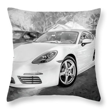 2017 Porsche Cayman 718 S  Bw    Throw Pillow