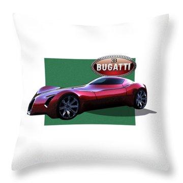 2025 Bugatti Aerolithe Concept With 3 D Badge  Throw Pillow