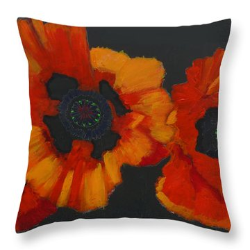 Throw Pillow featuring the painting 3 Poppies by Richard Le Page
