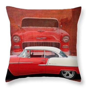 55 Chev Throw Pillow by Jim  Hatch