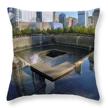 Throw Pillow featuring the photograph 9/11 Memorial by Mitch Cat