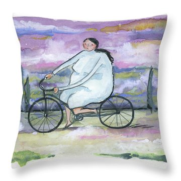 Throw Pillow featuring the painting A Beautiful Day For A Ride by Leanne WILKES