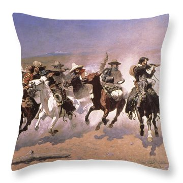 A Dash For The Timber Throw Pillow by Frederic Remington