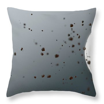 A Dirty White Panelled Soccer Ball Caught In Slow Motion Flying Through The Air Scattering Dirt Part Throw Pillow