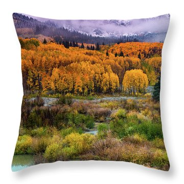 A Fall Snow At Sunrise Throw Pillow