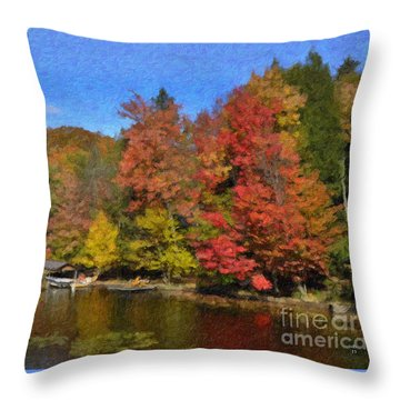 Throw Pillow featuring the painting A Little Piece Of Adirondack Heaven by Diane E Berry