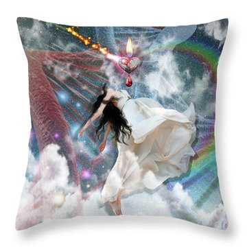 A New Heart Throw Pillow by Dolores Develde
