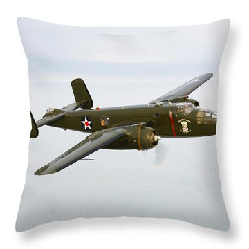 A North American B-25 Mitchell Throw Pillow by Scott Germain