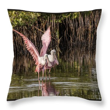 A Pair Of Spoonbills Throw Pillow