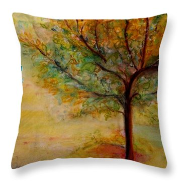 Throw Pillow featuring the painting A Poem Lovely As A Tree by Helena Bebirian