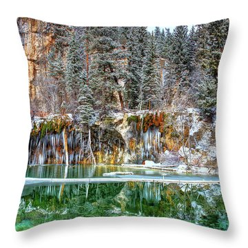 Olena Art Serene Chill Hanging Lake Photograph The Gem Of Glenwood Canyon Colorado Throw Pillow