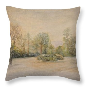 A Snowy Morn At Dalhebity Throw Pillow by Douglas Ann Slusher