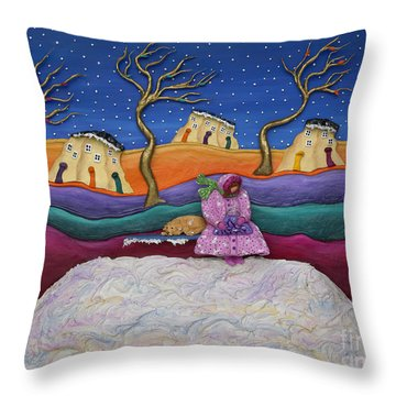 A Snowy Night Throw Pillow by Anne Klar