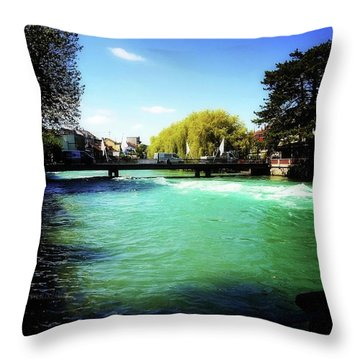 Aare River Throw Pillow by Mimulux patricia no No
