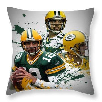 Aaron Rodgers Packers Throw Pillow by Joe Hamilton