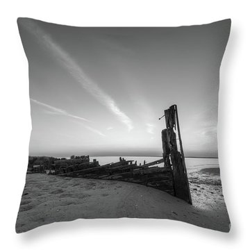 Abandoned Boat Bw Throw Pillow