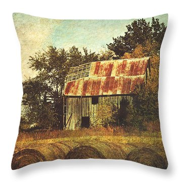 Abandoned Countryside Barn And Hay Rolls Throw Pillow