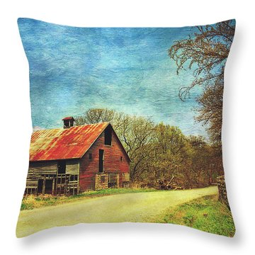 Throw Pillow featuring the photograph Abandoned Red Barn by Anna Louise