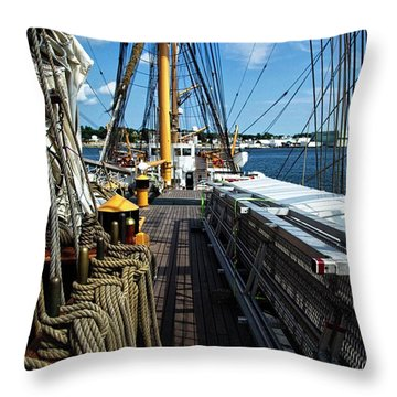 Throw Pillow featuring the photograph Aboard The Eagle by Karol Livote