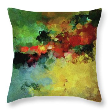 Throw Pillow featuring the painting Abstract And Minimalist  Landscape Painting by Ayse Deniz